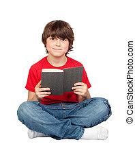 estudante, criança, livro