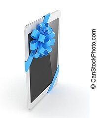 White tablet with bow 3D rendering - White tablet with blue...