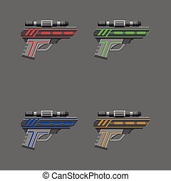 Video game weapon Virtual reality device Pistols set Vector...