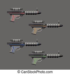 Video game weapon Virtual reality device Rifles set Vector...