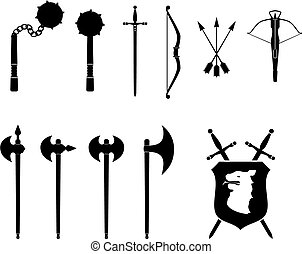 Medieval Weapons Set - A black and white set of medieval...