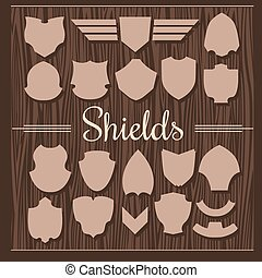 Vector Shields Set on wooden background