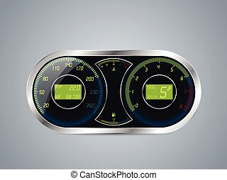 Shiny metallic speedometer and rev counter design