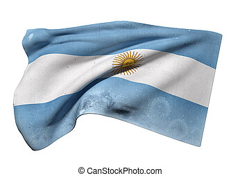 Argentine Republic flag waving - 3d rendering of an old and...