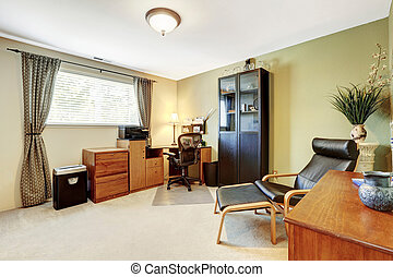 Simplistic home office white interior with carpet floor and...