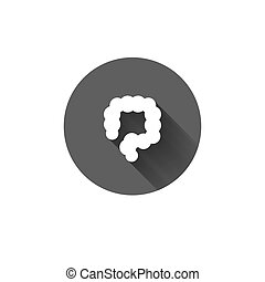 Vector colon flat long shadow icon - Vector colon simple...