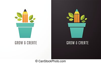 Growing idea - concept icon of education, pencil, science
