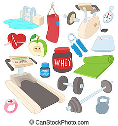 Fitness icons set, cartoon style - Fitness icons set in...