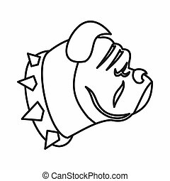 Bulldog dog icon, outline style - Bulldog dog icon in...