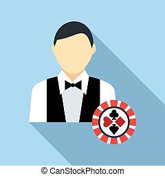 Casino croupier icon, flat style - Casino croupier icon in...