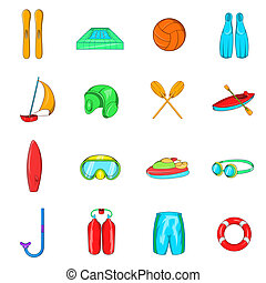 Water Sport Icons set, cartoon style - Water Sport Icons set...