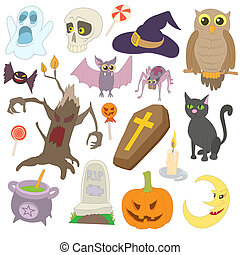 Halloween icons set, cartoon style - Halloween icons set in...