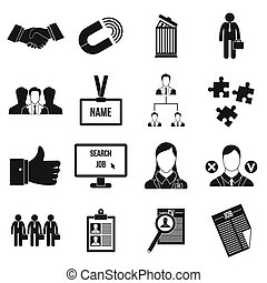 Human resource management icons set in simple style for any...