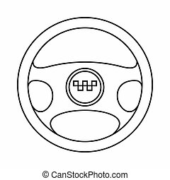 Steering wheel of taxi icon, outline style - Steering wheel...
