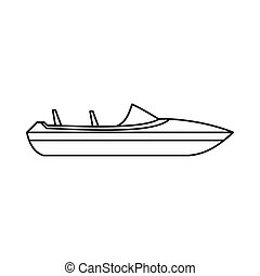 Little powerboat icon, outline style - Little powerboat icon...
