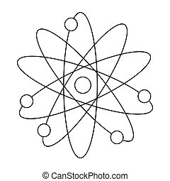 Atom with electrons icon, outline style - icon in outline...