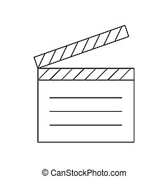 Movie clapper icon, outline style - Movie clapper icon in...