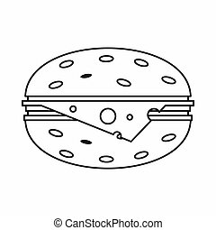 Cheeseburger icon, outline style - Cheeseburger icon in...