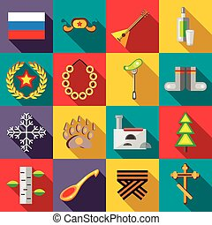 Russia icons set, flat style - Russia icons set in flat...