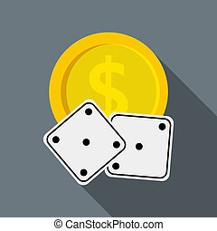 Dices and casino chip icon, flat style - Dices and casino...