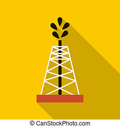 Oil rig icon, flat style - Oil rig icon in flat style with...