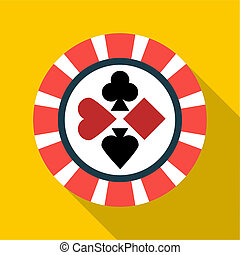 Casino chip icon, flat style - Casino chip icon in flat...