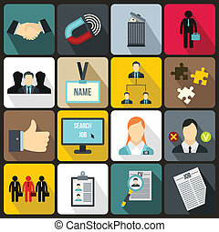 Human resource management icons set in flat style for any...