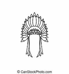 icono, estilo, indio, contorno, tocado