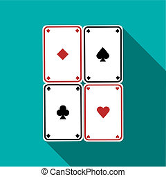 Poker cards set icon, flat style - Poker cards set icon in...