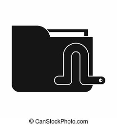 Computer worm icon, simple style - Computer worm icon in...