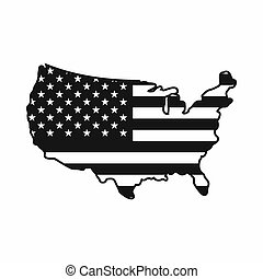 USA map icon, simple style - USA map icon in simple style...