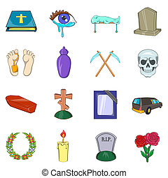 Funeral Icons set, cartoon style - Funeral Icons set in...