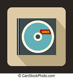 CD with danger lettering icon, flat style - icon in flat...