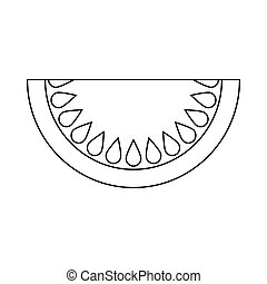 Piece of watermelon icon, outline style - icon in outline...