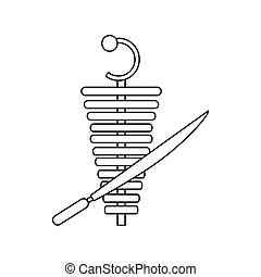 Shawarma meat doner kebab icon, outline style - icon in...