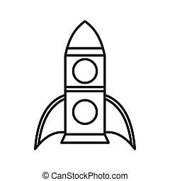 cohete, icono, contorno, estilo
