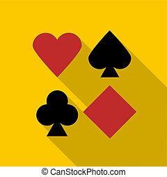 Set of playing card symbols icon, flat style - Set of...