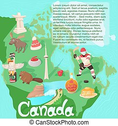 Canada map travel and landmark concept vector illustration