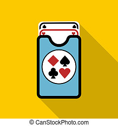 Deck of playing cards icon, flat style - Deck of playing...