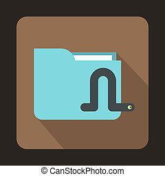 Computer worm icon, flat style - icon in flat style on a...