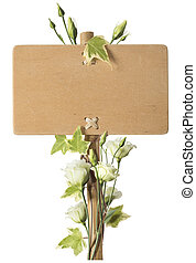 Blank Wooden Sign with Green Roses Flowers