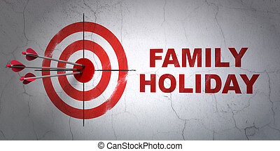 Travel concept: target and Family Holiday on wall background...