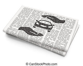 Insurance concept: Car And Palm on Newspaper background -...