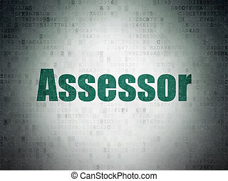 Insurance concept: Assessor on Digital Data Paper background...