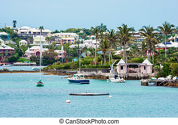 Boats Along Bermuda - Boats and colorful architecture along...
