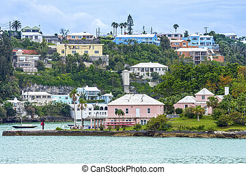 Hamilton Bermuda View - Colorful homes and hotels on this...