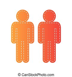 Gay family sign. Orange applique isolated.