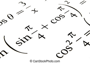 Algebra formulas close up. - Close up of a textbook with...