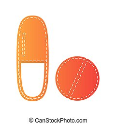 Medical pills sign. Orange applique isolated.