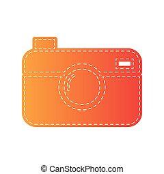 Digital photo camera sign. Orange applique isolated.